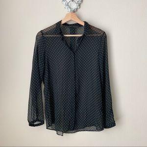 Zara Trafaluc black polka dot button down blouse